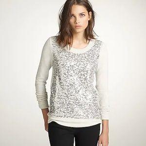 J.CREW Light Gray Haya Sequin Sweatshirt